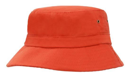 Brushed Sports Twill Childs Bucket Hat Orange