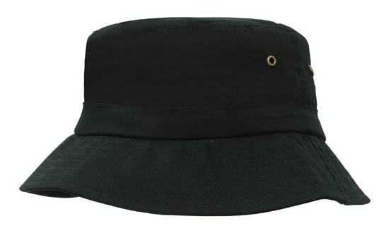 Brushed Sports Twill Youth Bucket Hat Black