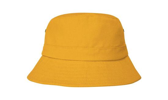 Brushed Sports Twill Youth Bucket Hat Gold