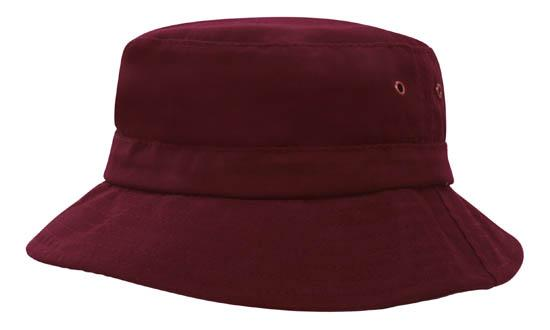 Brushed Sports Twill Youth Bucket Hat Maroon