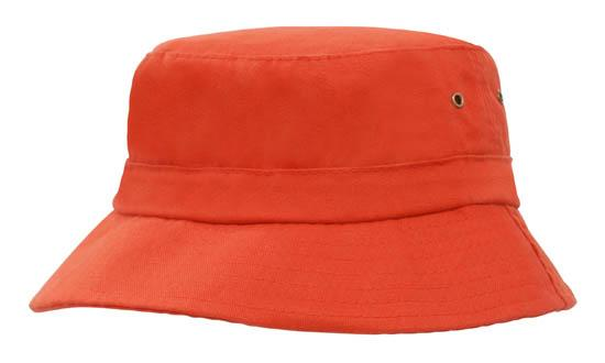 Brushed Sports Twill Youth Bucket Hat Orange