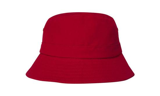 Brushed Sports Twill Youth Bucket Hat Red