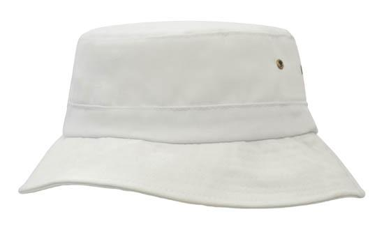 Brushed Sports Twill Youth Bucket Hat White