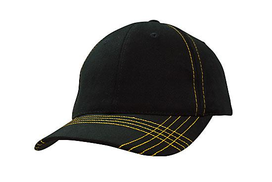 Contrast Cross Stitching Brushed Heavy Cotton Cap Black Gold