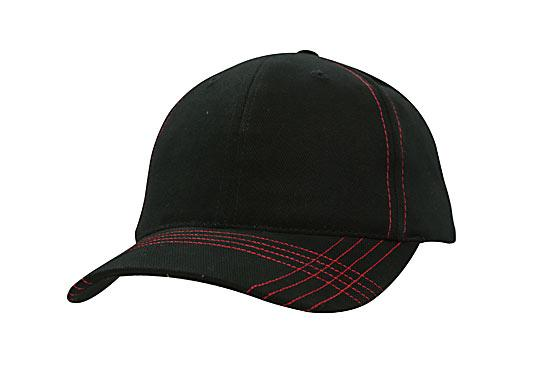 Contrast Cross Stitching Brushed Heavy Cotton Cap Black Red
