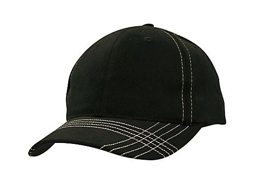Contrast Cross Stitching Brushed Heavy Cotton Cap Black White