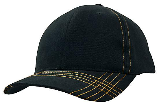 Contrast Cross Stitching Brushed Heavy Cotton Cap Navy Gold