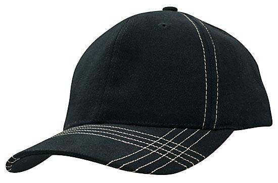 Contrast Cross Stitching Brushed Heavy Cotton Cap Navy White