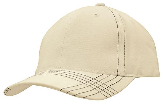 Contrast Cross Stitching Brushed Heavy Cotton Cap White Navy