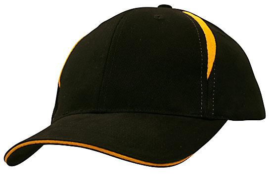 Crown Inserts Brushed Heavy Cotton Sandwich Cap Black Gold
