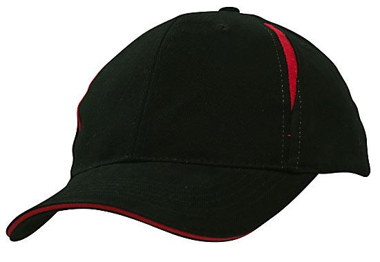 Crown Inserts Brushed Heavy Cotton Sandwich Cap Black Red