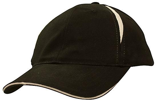 Crown Inserts Brushed Heavy Cotton Sandwich Cap Black White