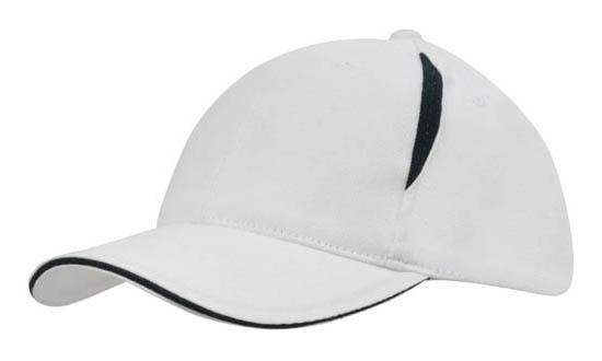 Crown Inserts Brushed Heavy Cotton Sandwich Cap White Navy