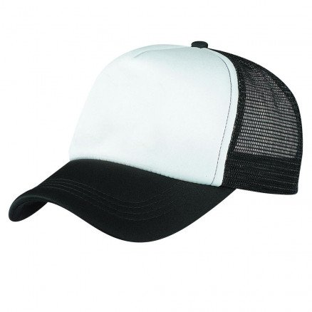 Foam Mesh Trucker Cap Black White