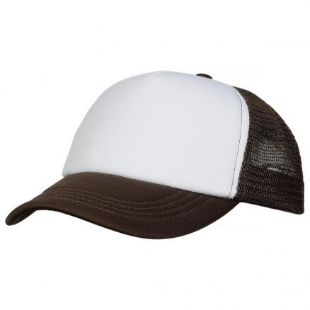 Foam Mesh Trucker Cap Brown White