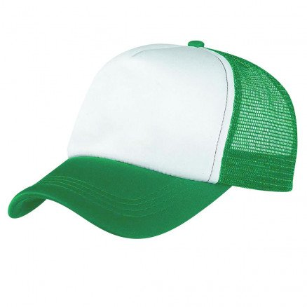 Foam Mesh Trucker Cap Emerald White