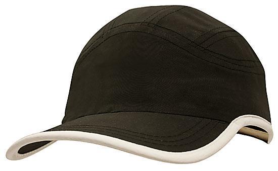 Microfibre Sports Cap plus Trim Black White
