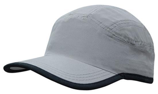 Microfibre Sports Cap plus Trim Grey Black