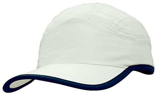 Microfibre Sports Cap plus Trim White Navy