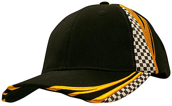 Printed Checks Brushed Heavy Cotton Cap Black Gold