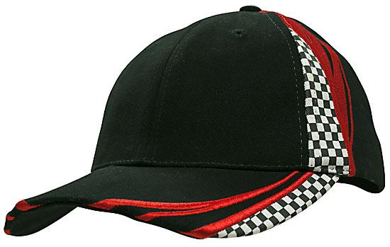 Printed Checks Brushed Heavy Cotton Cap Black Red