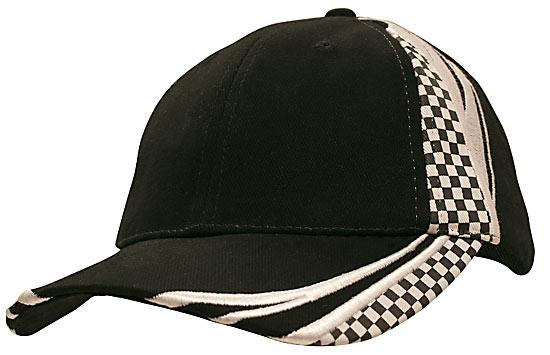 Printed Checks Brushed Heavy Cotton Cap Black White