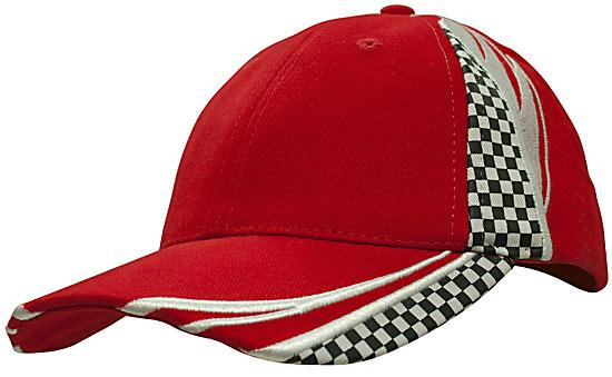 Printed Checks Brushed Heavy Cotton Cap Red White