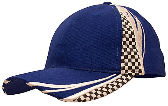 Printed Checks Brushed Heavy Cotton Cap Royal White