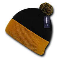 Athletic Pom Pom Beanie-Black/Gold
