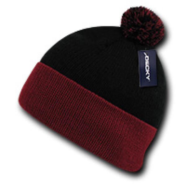 Athletic Pom Pom Beanie-Black/Red