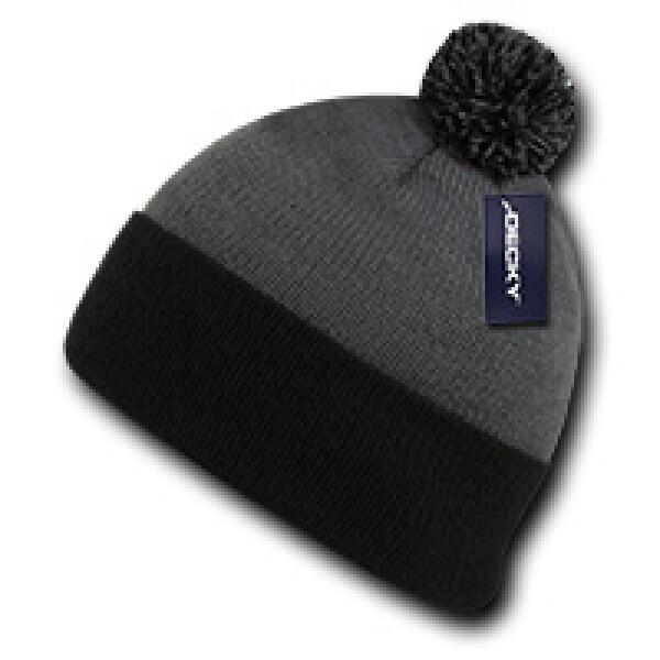 Athletic Pom Pom Beanie-Grey/Black