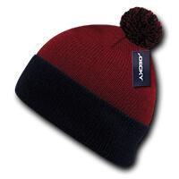 Athletic Pom Pom Beanie-Red/Navy