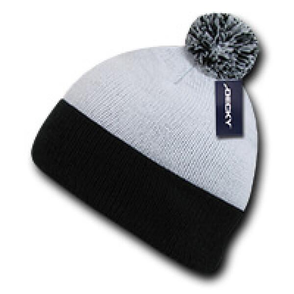 Athletic Pom Pom Beanie-White/Black