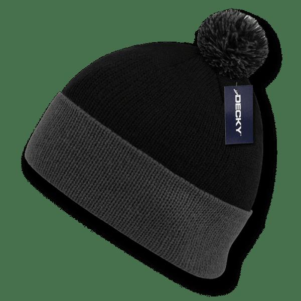 Athletic Pom Pom Beanie-Black/Grey