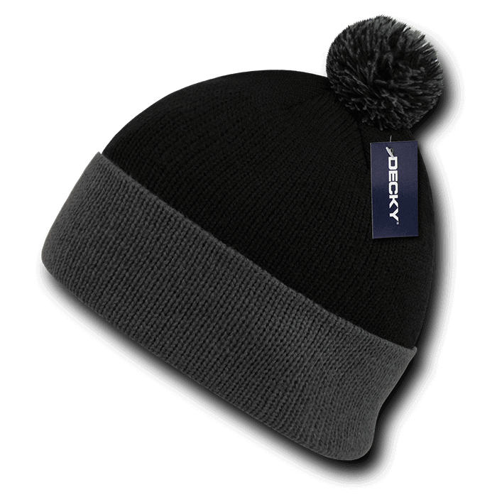 Athletic Pom Pom Beanie-Black/Grey