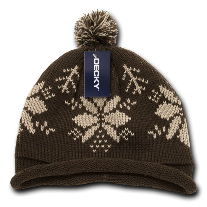 Snowflake Roll Up Beanie-Brown/Stone