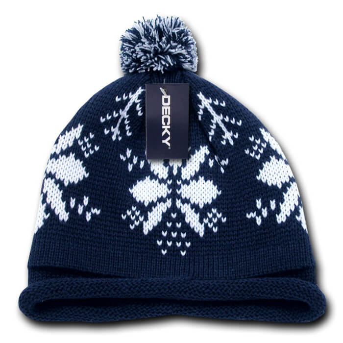 Snowflake Roll Up Beanie-Navy/White
