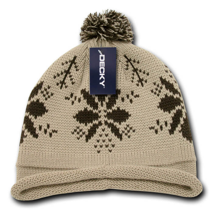 Snowflake Roll Up Beanie-Stone/Brown