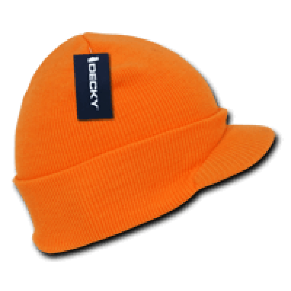 Neon Jeep Cap Beanie-Neon Orange