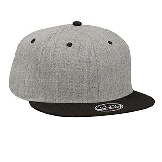 Six Panel Heather Wool Blend Flat Cap