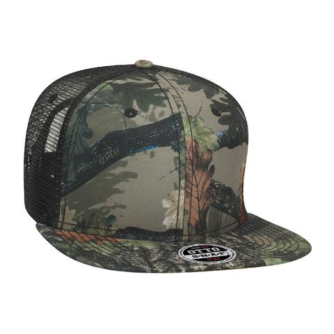 Six Panel Poly Twill Camo Flat Cap
