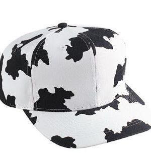 Six Panel Cow Pattern Cotton Twill Cap