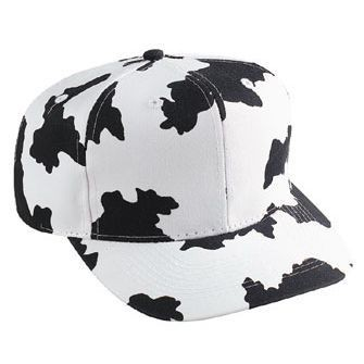 Six Panel Cow Pattern Cotton Twill Cap