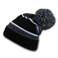 Giant Pom Beanie - Grey/Black