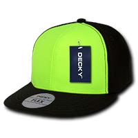 Two Tone Neon Flat Peak Flex Cap