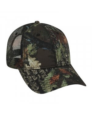 Six Panel Poly Twill Camo Mesh Trucker Cap